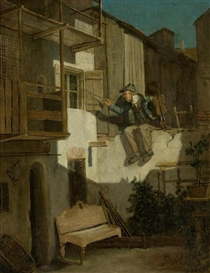 Artwork by Carl Spitzweg, Serenade in the moonlight, Made of Oil on canvas