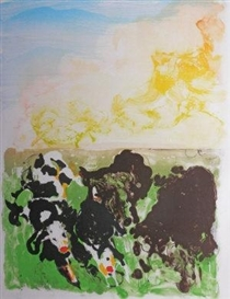 Artwork by Malcolm Morley, Devonshire Cows, Made of lithograph printed in colours