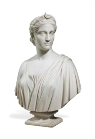 Artwork by Hiram Powers, Diana, Made of marble