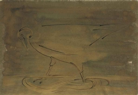 Artwork by Morris Graves, Bird Standing in the Golden Stream, Made of mixed media on paper