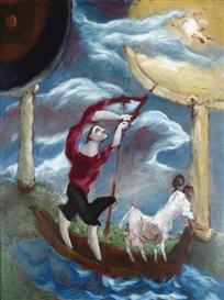 Artwork by Gérard Garouste, LE PÊCHEUR ET LA CHÈVRE, Made of oil on canvas