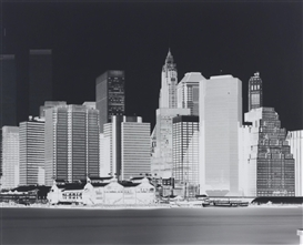 Artwork by Vera Lutter, Untitled (Manhattan Skyline), Made of gelatin silver print