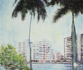 Artwork by Enoc Pérez, Pink Condos, Made of oil and oilstick on canvas
