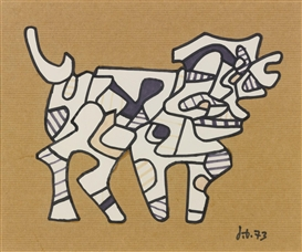 Artwork by Jean Dubuffet, Le Chien, Made of felt tip pen and paper collage laid down on card