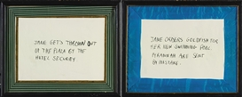 Artwork by Karen Kilimnik, Jane/Creep (Hotel Security); Jane/Creep (Pyrannah), Made of crayon on paper in artist's frames