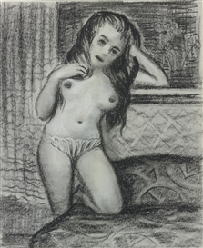 Artwork by John Currin, Black Haired Nude, Made of charcoal and white chalk on paper