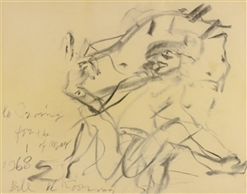 Artwork by Willem de Kooning, Untitled, Made of charcoal on paper laid down on paper