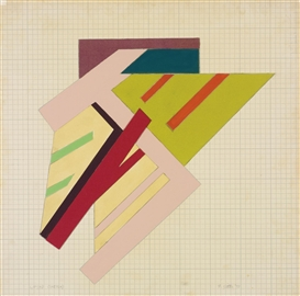 Artwork by Frank Stella, Lipsko (Sketch), Made of acrylic, felt, and fabric collage on cardboard mounted on masonite