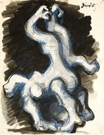 Artwork by Jacques Lipchitz, Figures, Made of gouache and color crayons on paper