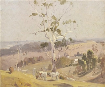 Cattle Grazing in a Hilly Landscape By W.B. McInnes