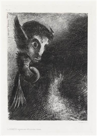Artwork by Odilon Redon, La Chimère regarda avec effroi toutes choses, Made of Lithograph printed in black on Chine appliqué