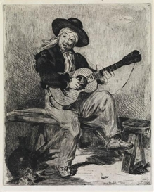 Artwork by Édouard Manet, Le Chanteur Espagnol, Made of Etching printed in black on cream laid paper