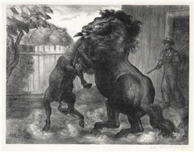 Artwork by John Steuart Curry, Stallion and Jack Fighting, Made of Lithograph