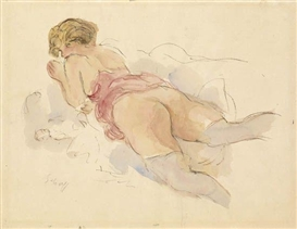 Artwork by Otto Schoff, Femme nue, Made of Watercolor and pen and ink on cream laid paper
