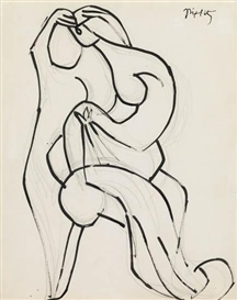 Artwork by Jacques Lipchitz, Sculptural Figure, Made of Brush and black ink and grayish black chalk on paper