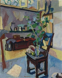 Artwork by Max Gubler, Interieur mit Stuhl, 1942, Made of Oil on canvas