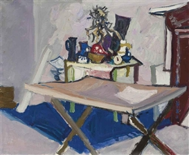 Artwork by Max Gubler, Atelierinterieur, 1954, Made of Oil on canvas