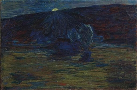 Artwork by Giovanni Segantini, Tramonto, um 1885-86, Made of Oil on canvas
