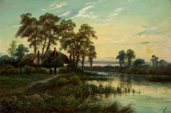 Evening Landscape By Octavius T. Clark ,1894