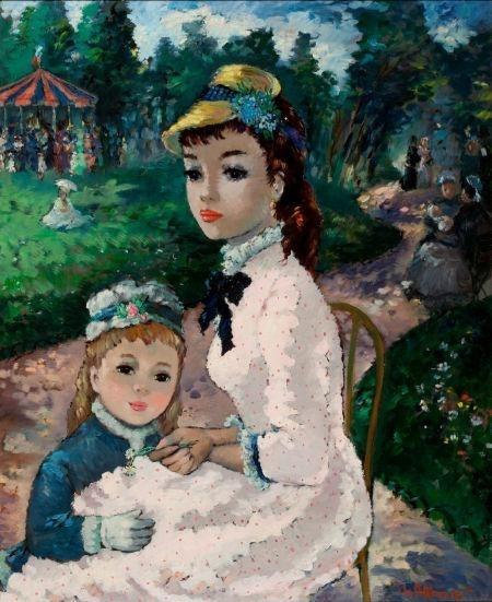 Вышивка мама с дочкой 52