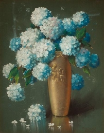 Artwork by Alfredo Ramos Martínez, Still Life with Hydrangeas, Made of Pastel on paper