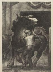 Artwork by John Steuart Curry, Prize Stallions, Made of lithograph