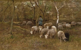 Artwork by Anton Mauve, A shepherd with his flock in the woods, Made of oil on canvas