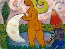 Artwork by Henry Heerup, Woman, moon and pixie, Made of Oil on canvas