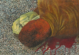 Artwork by Ben Shahn, Death on the Beach, Made of tempera on board