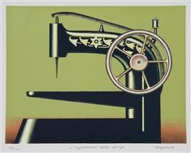 Artwork by Konrad Klapheck, L'impazienza della sphinge, Made of Colour lithograph on vellum