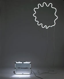 Artwork by Michelangelo Pistoletto, 'Tutti Designers', Made of Transformer in a case, white flourescent tube