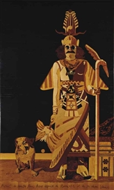 Artwork by Eduardo Arroyo, Portrait du peintre Francis Biras déguisé en Pierre Loti et de son chien Vamos, Made of marquetry on panel