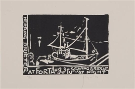 Artwork by Barry Flanagan, 2 Works: Hering Drifter at Fort Augustus Swing Bridge at Night; Landscape, Made of Linocut, etching, wove paper