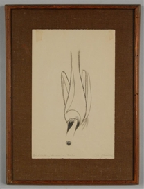 Artwork by Morris Graves, Bird Calling Down A Hole, Made of ink on paper
