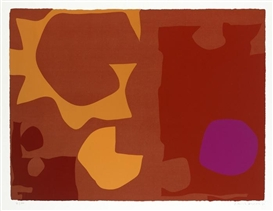 Artwork by Patrick Heron, Six in Vermilion with Violet in Red, Made of silkscreen on paper