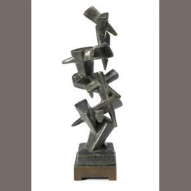 Artwork by Jacques Schnier, Triangular Wedges, #2, Made of bronze on wooden base
