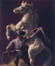 Artwork by David Levinthal, COWBOY WITH LASSO AND WHITE HORSE, Made of unique large-format Polaroid Polacolor print