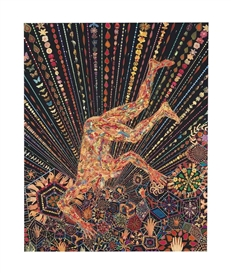 Artwork by Fred Tomaselli, Organism, Made of leaves, photo-collage, acrylic, gouache and resin on panel