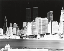 Artwork by Vera Lutter, Lower Manhattan skyline with Twin Towers, Made of silver print