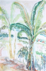 Artwork by Sudjana Kerton, Banana Trees in a Landscape, Made of watercolor on paper