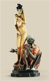 Artwork by Bruno Zach, POLYCHROMED COLD PAINTED BRONZE GROUP WITH A NUDE GIRL AND SLAVE OWNER, Made of gilt bronze and polychrome painted bronze cold orange and brown on an octagonal marble portor