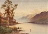 Donald A Paton, A mountainous lakeside with heron