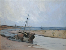 Artwork by Grace Henry, FISHING BOATS, Made of Oil on canvas