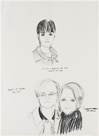 Artwork by Karen Kilimnik, Demi's not Smitten with Him, Made of crayon on paper