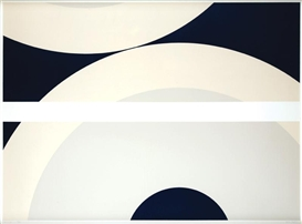 Artwork by Nassos Daphnis, Blue composition 33-11-78, Made of serigraphy