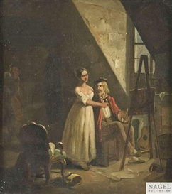 Artwork by Carl Spitzweg, Eavesdropping lovers, Made of Oil on cardboard