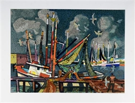 Artwork by Millard Sheets, Sailboats, Made of Lithograph