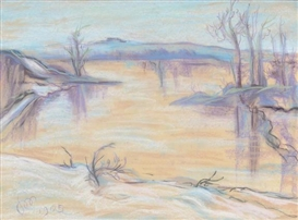 Artwork by Stanislaw Wyspianski, Landscape, Made of Pastel on paper board