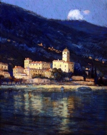 Artwork by Charles Warren Eaton, Nocturne- City by the Shoreline, Bellagio, Lake Como, Italy, Made of pastel on canvas