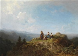Artwork by Carl Spitzweg, Maids on the Alpine Pastures, Made of oil on canvas